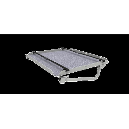 Tablette support cardio 3 appuis, repliable avec supports avant indépendants pour transfert latéral du patient